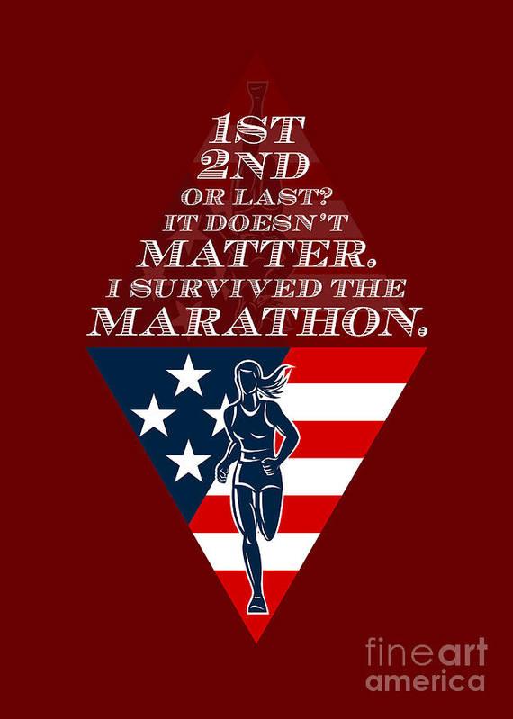Poster Print featuring the digital art American Female Marathon Runner Retro Poster by Aloysius Patrimonio
