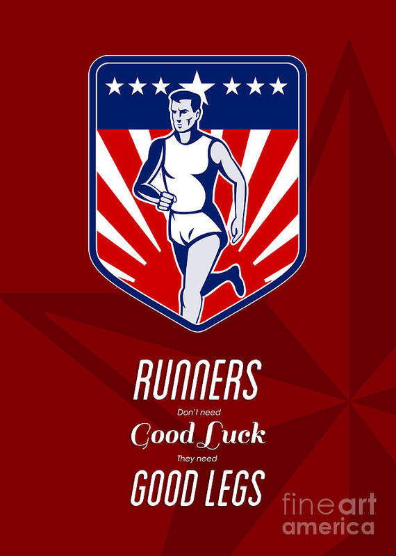 Poster Print featuring the digital art American Marathon Runner Good Legs Poster by Aloysius Patrimonio