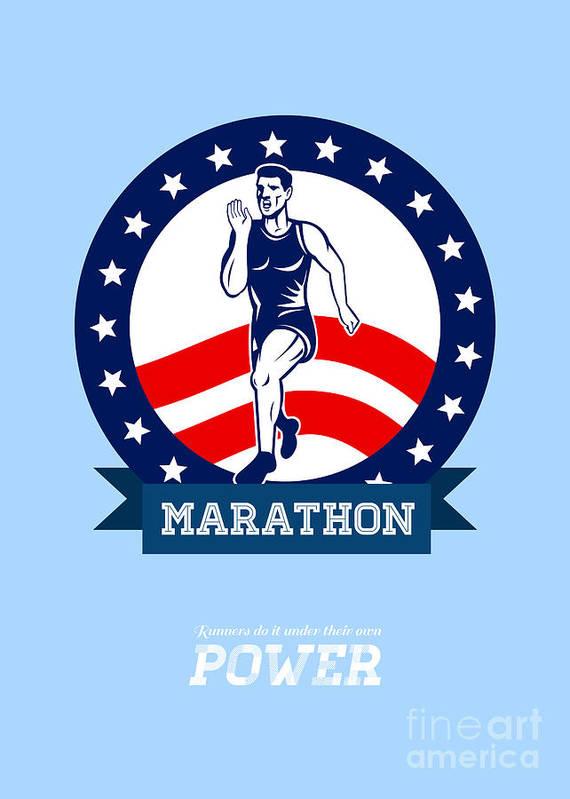 Poster Art Print featuring the digital art American Marathon Runner Power Poster by Aloysius Patrimonio