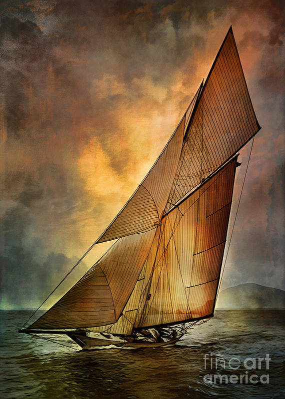 Sailboat Print featuring the digital art America's Cup by Andrzej Szczerski