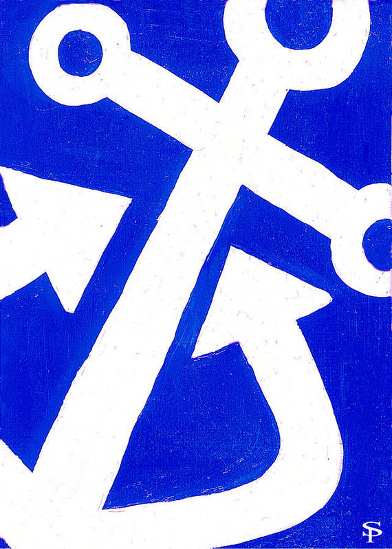 Anchor Art Print featuring the painting Anchor- Bright Blue by Catherine Peters