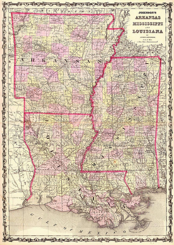 Map Art Print featuring the drawing Antique Map Of Arkansas Mississippi And Louisiana by Mountain Dreams