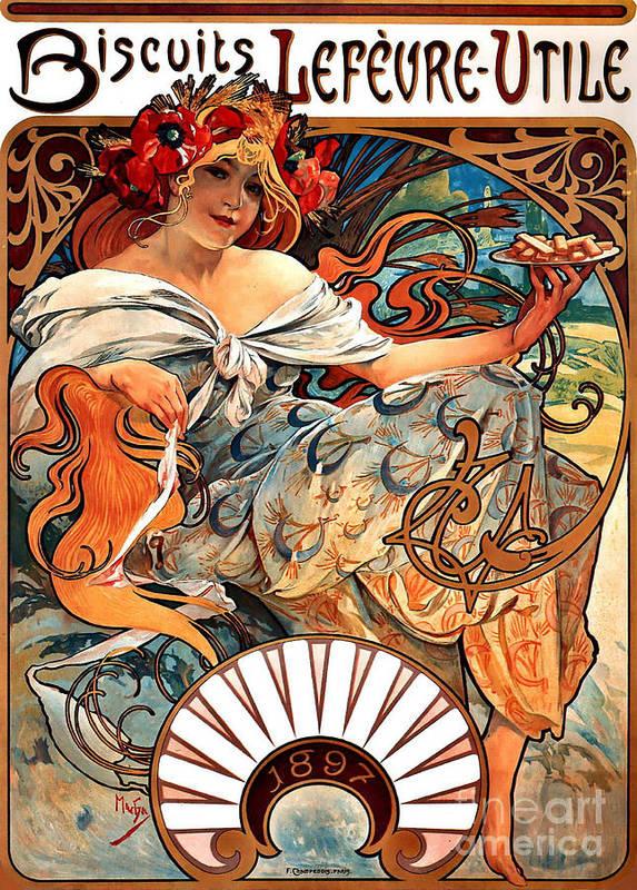 Art Nouveau Biscuit Advertisement 1897 Art Print featuring the photograph Art Nouveau Biscuit Ad 1897 by Padre Art