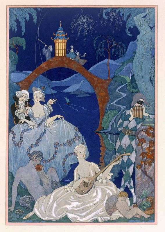 Bacchanal Art Print featuring the painting Ball Under The Blue Moon by Georges Barbier