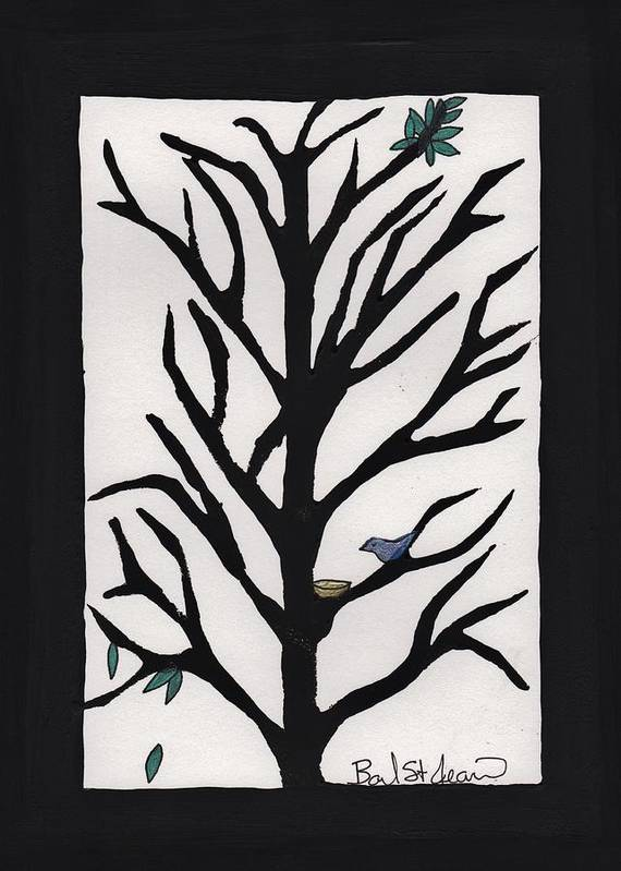 Bluebird In A Pear Tree Print featuring the painting Bluebird In A Pear Tree by Barbara St Jean