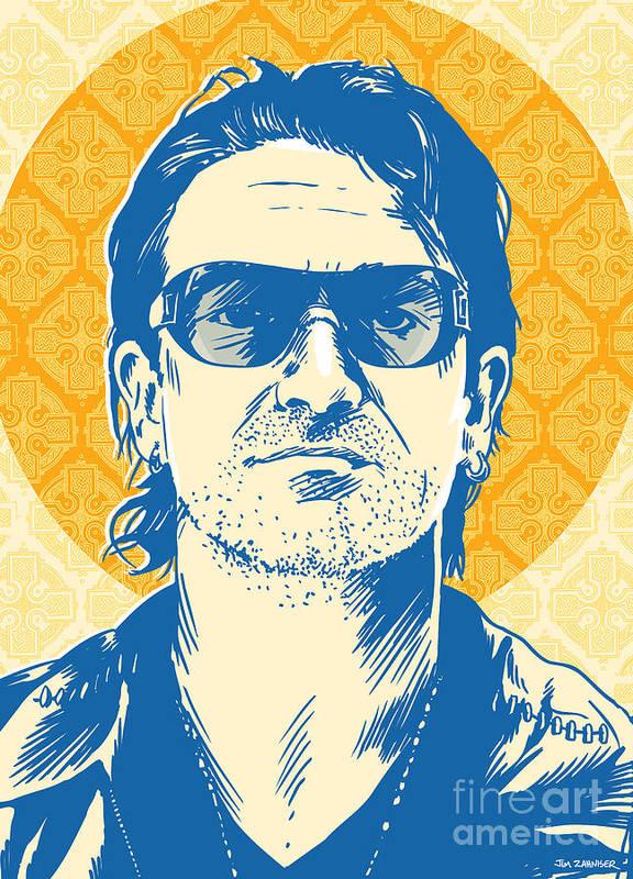 Music Art Print featuring the digital art Bono Pop Art by Jim Zahniser
