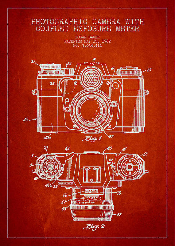 Camera Art Print featuring the digital art Camera Patent Drawing From 1962 by Aged Pixel