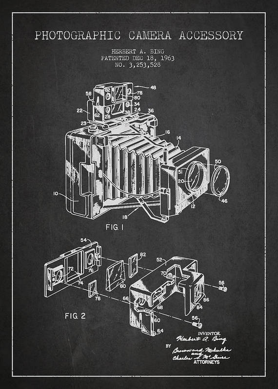 Camera Art Print featuring the digital art Camera Patent Drawing From 1963 by Aged Pixel