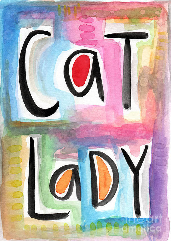 Cat Lady Art Print featuring the painting Cat Lady by Linda Woods