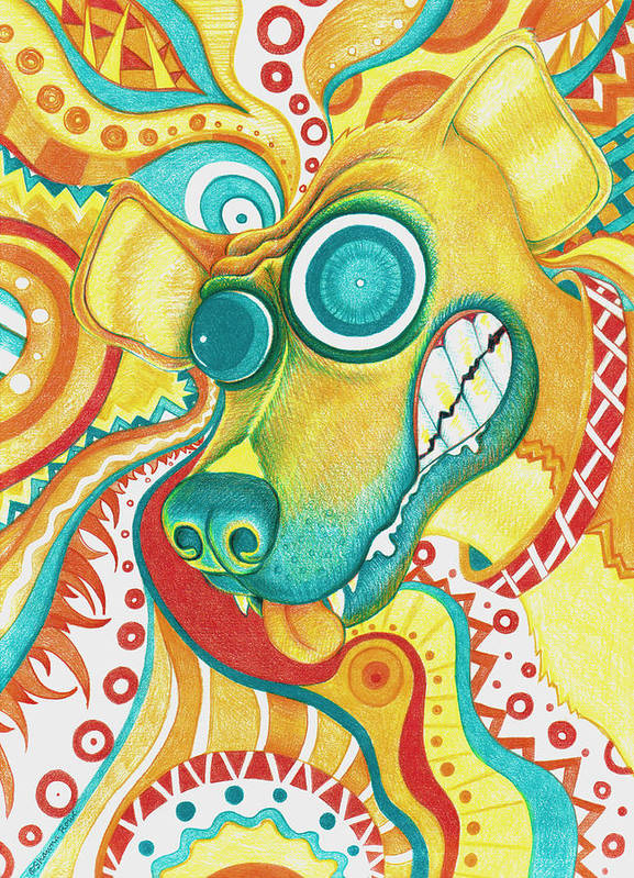 Colored Pencil Art Print featuring the drawing Chaotic Canine by Shawna Rowe
