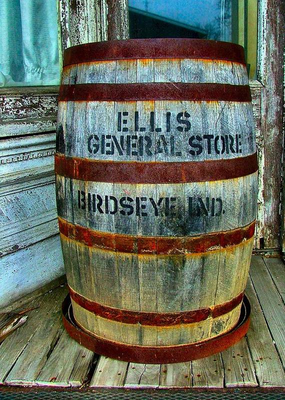 Old Barrels Print featuring the photograph Cheap Advertisement by Julie Dant