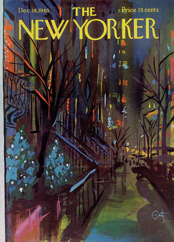 Christmas Art Print featuring the painting Christmas In New York by Arthur Getz