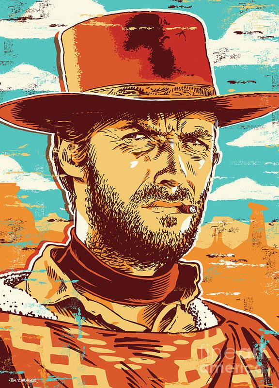 Illustration Art Print featuring the digital art Clint Eastwood Pop Art by Jim Zahniser
