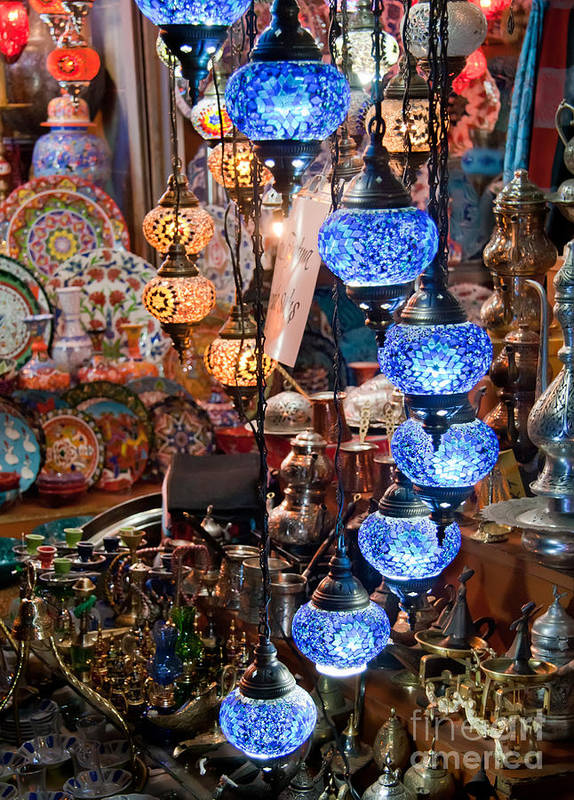 Traditional Art Print featuring the photograph Colorful Traditional Turkish Lights by Leyla Ismet