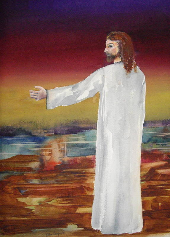 Religiousjesus Art Print featuring the painting Come Follow Me by Ellen Canfield