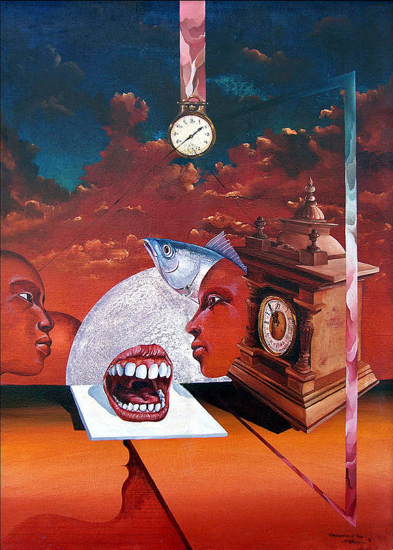 Otto+rapp Surrealism Surreal Fantasy Time Clocks Watch Consumption Art Print featuring the painting Consumption Of Time by Otto Rapp