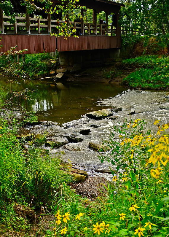 Covered Bridge Art Print featuring the photograph Covered Bridge by Frozen in Time Fine Art Photography
