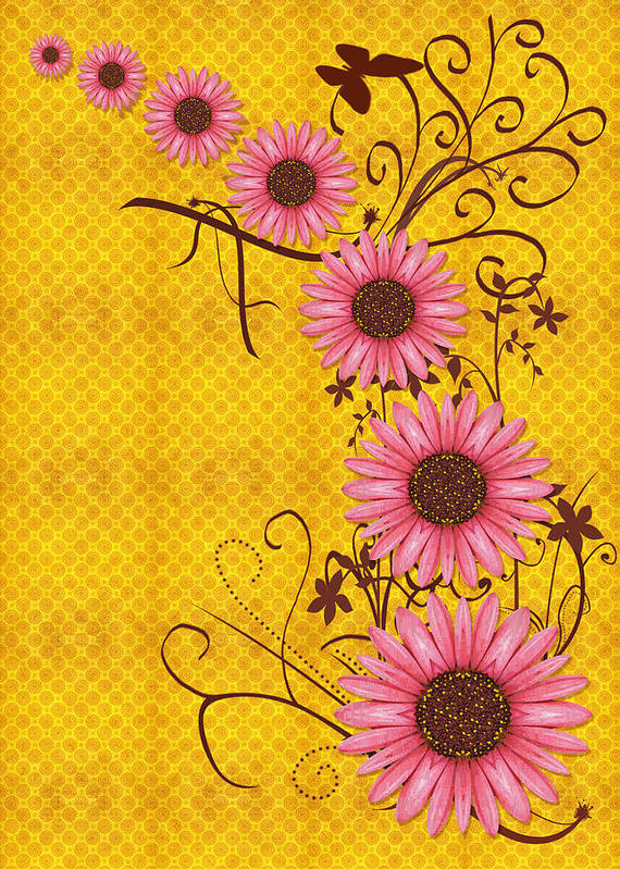 Yellow Art Print featuring the digital art Daisies Design - S01y by Variance Collections