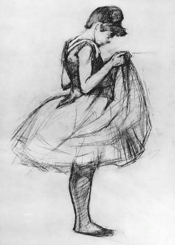 Ballet Art Print featuring the drawing Dancer Adjusting Her Costume And Hitching Up Her Skirt by Henri de Toulouse-Lautrec