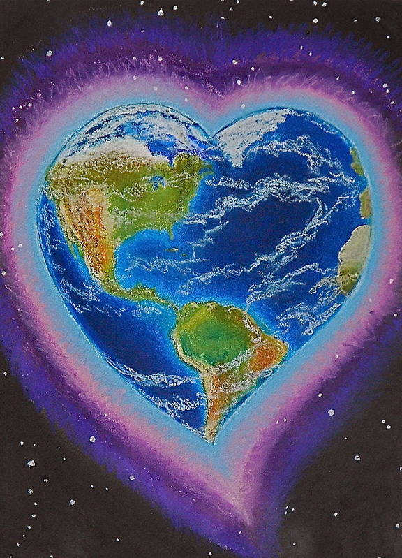 Earth Art Print featuring the mixed media Earth Equals Heart by R Neville Johnston