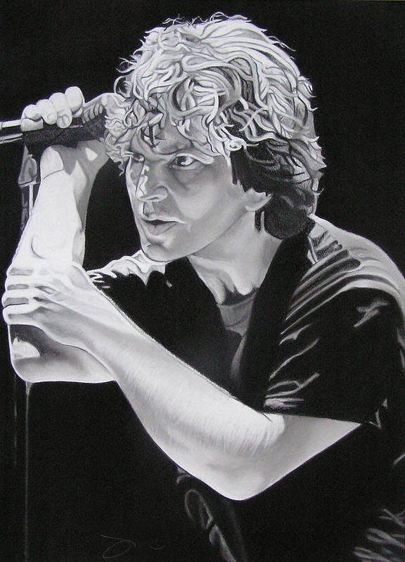 Eddie Vedder Art Print featuring the drawing Eddie Vedder Black And White by Joshua Morton