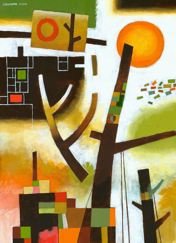 Abstract Art Print featuring the painting Facing The Music by Douglas Simonson