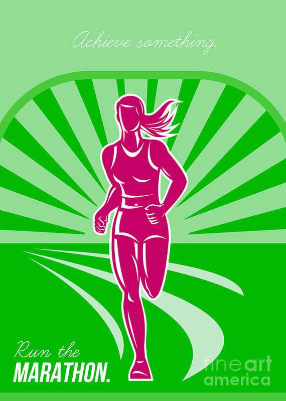 Poster Art Print featuring the digital art Female Run Marathon Retro Poster by Aloysius Patrimonio