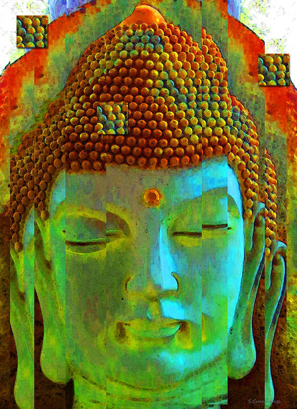 Tao Print featuring the painting Finding Buddha - Meditation Art By Sharon Cummings by Sharon Cummings