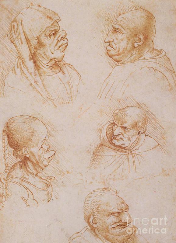 Renaissance Art Print featuring the drawing Five Studies Of Grotesque Faces by Leonardo da Vinci