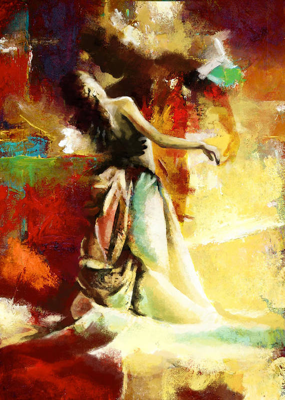Jazz Art Print featuring the painting Flamenco Dancer 032 by Catf
