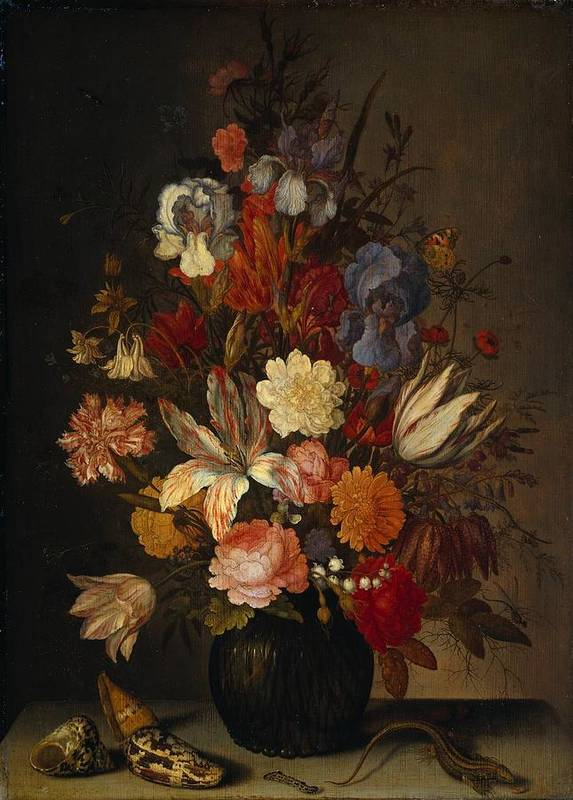 Vintage Art Print featuring the painting Flowers In Glass Vase With Shells C1625 by Sheila Savage