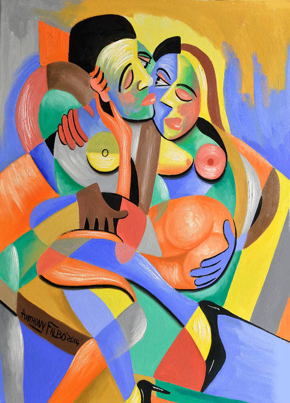 Abstract Art Print featuring the painting Four Play by Anthony Falbo