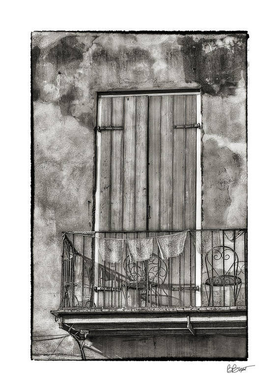 Door Art Print featuring the photograph French Quarter Balcony In Black And White by Brenda Bryant