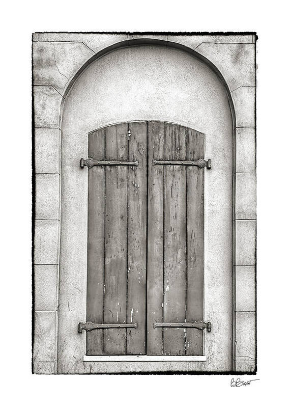 French Quarter Art Print featuring the photograph French Quarter Shutters In Black And White by Brenda Bryant