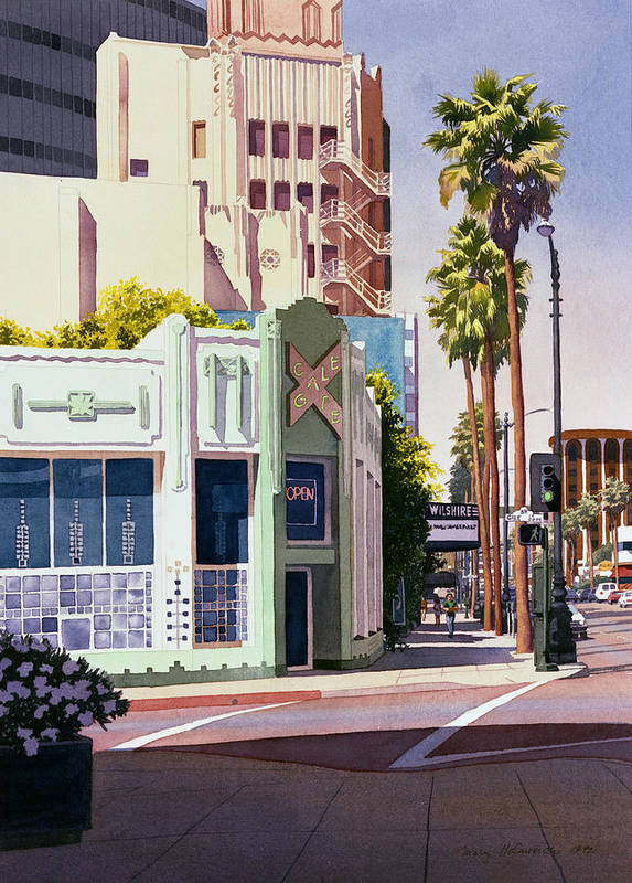 California Art Print featuring the painting Gale Cafe On Wilshire Blvd Los Angeles by Mary Helmreich