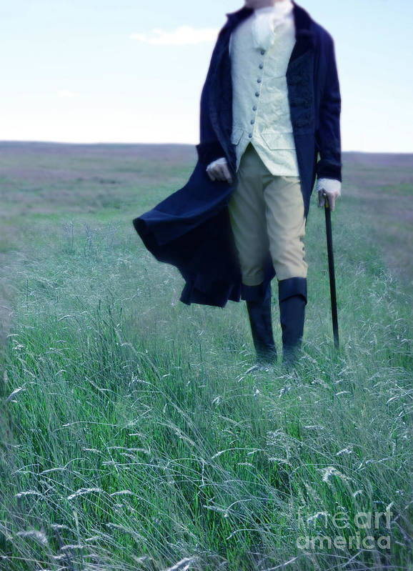 Young Print featuring the photograph Gentleman Walking In The Country by Jill Battaglia