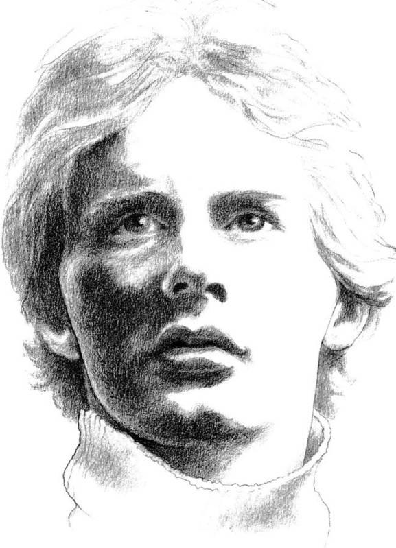 Formula 1 Car Racing Portrait Art Print featuring the drawing Gilles Villeneuve by Diane Fine