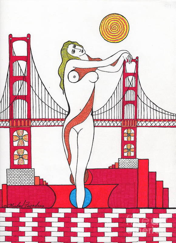 San Francisco Print featuring the drawing Goddess Of The Golden Gate by Michael Friend