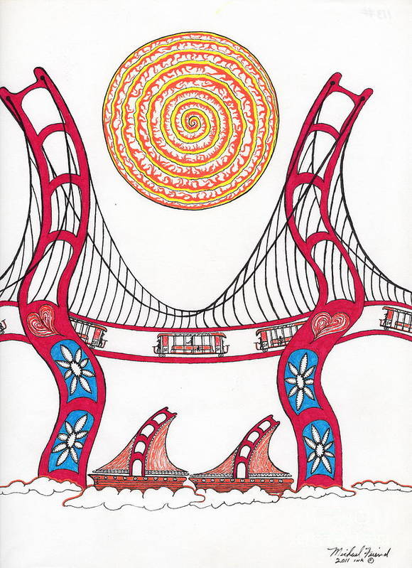 San Francisco Art Print featuring the drawing Golden Gate Bridge Dancing In The Wind by Michael Friend
