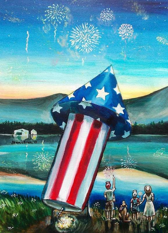 Firework Art Print featuring the painting Grand Finale by Shana Rowe Jackson