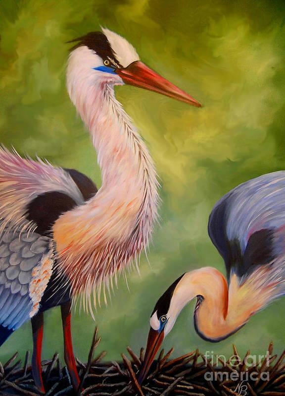 Great Blue Herons Art Print featuring the painting Great Blue Herons by Nancy Bradley