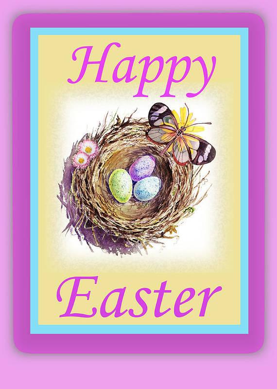 Happy Easter Nest Art Print