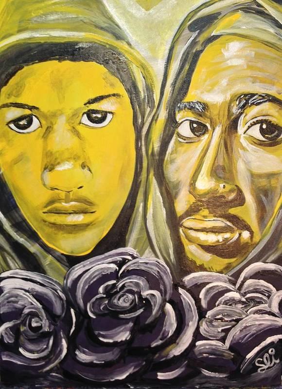 Trayvon Martin Tupac Shakur Urban Beauty Hood Life Artwork Afro Art Ivy Unique Purple Yellow Heavenly Flowers Roses Spiritual Aura Afterlife Art Print featuring the painting Hood Heaven by Sean Ivy aka Afro Art Ivy