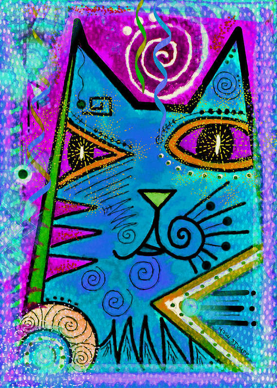 Moon Stumpp Art Print featuring the painting House Of Cats Series - Dots by Moon Stumpp