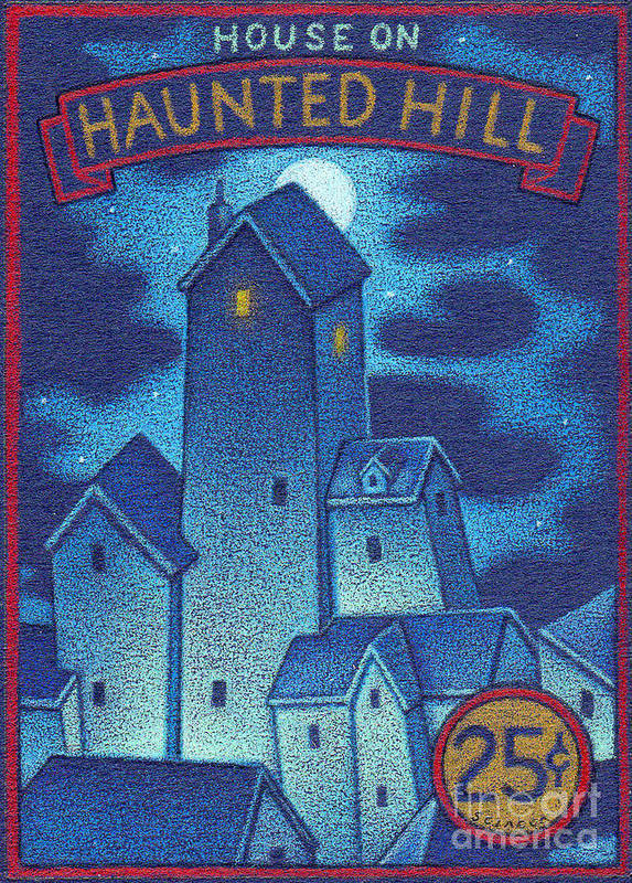 Haunted Art Print featuring the drawing House On Haunted Hill by Thomas Sciacca