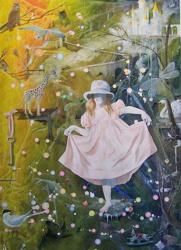 Girl Art Print featuring the painting I Met A Giraffe by Jackie Mueller-Jones