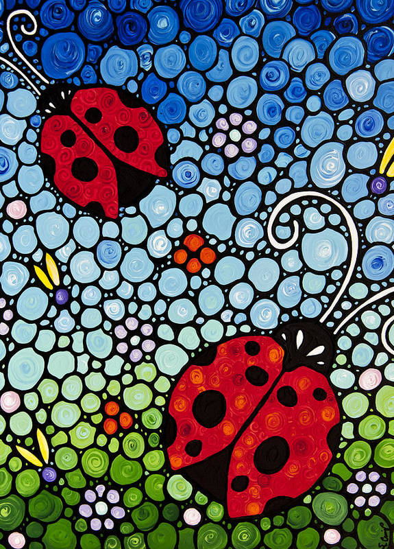Ladybugs Art Print featuring the painting Joyous Ladies Ladybugs by Sharon Cummings
