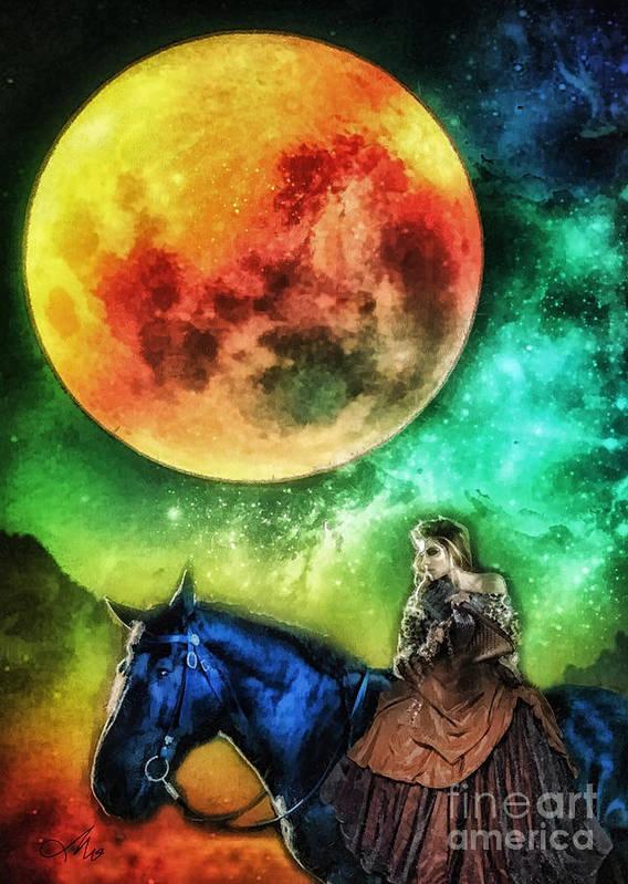 La Luna Art Print featuring the digital art La Luna by Mo T