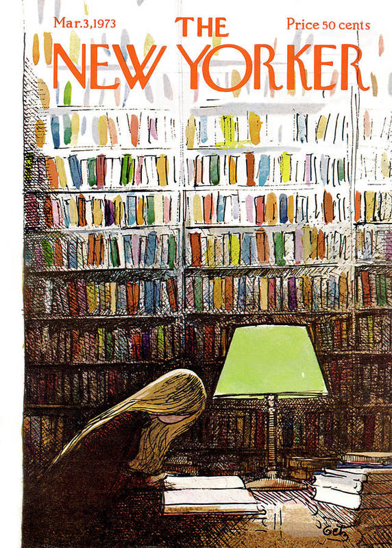 Library Art Print featuring the painting New Yorker March 3, 1973 by Arthur Getz