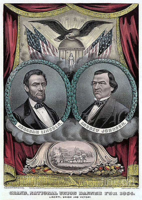 Abraham Lincoln Photographs Mixed Media Mixed Media Art Print featuring the mixed media Lincoln Johnson Campaign Poster by Marvin Blaine